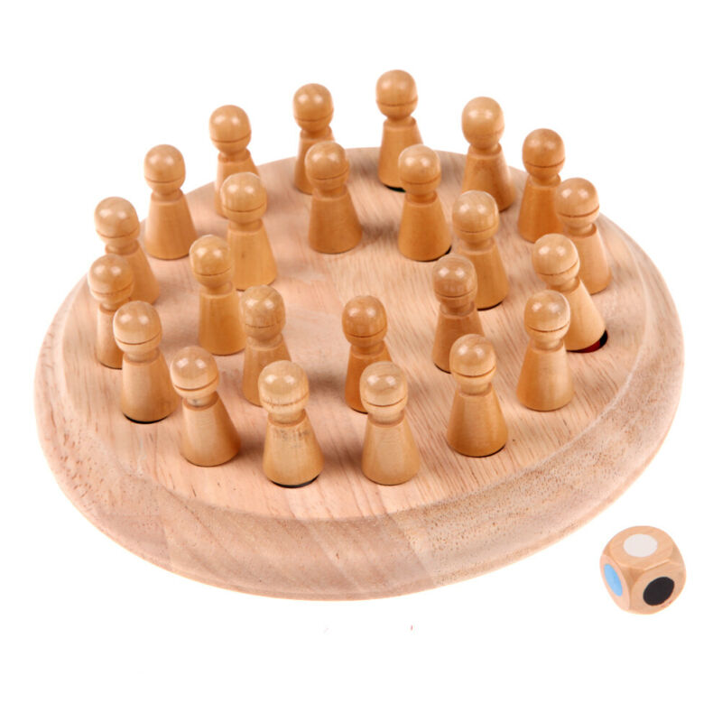 Boys and Girls Kids Matchstick Chess Color Cognitive Ability Toy Japace Wooden Memory Chess Block Board Educational Intelligent Game for Children
