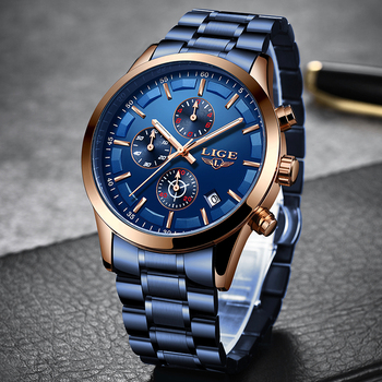 LIGE New Fashion Mens Watches with Stainless Steel Top Brand Luxury Sports Chronograph Quartz Blue Watch Men Relogio Masculino megir luxury brand men silicone sports watches 2020 fashion army watch man chronograph quartz wristwatch relogio masculino 2161