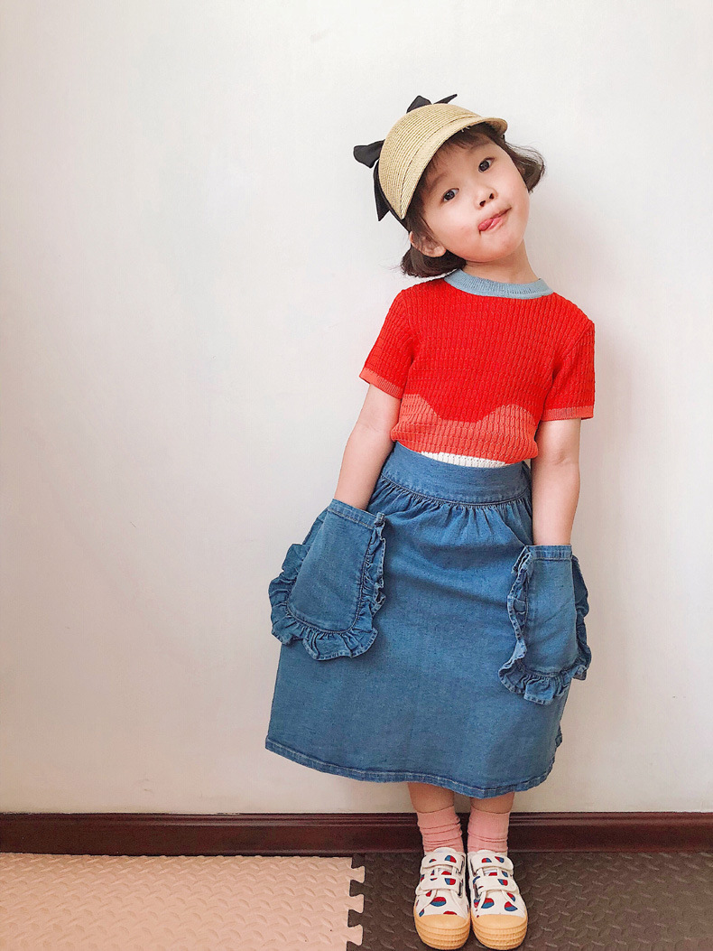 Girls Cardigan Sweater Shorts 2021 Autumn Brand Boys Cotton Knitted Sweaters Baby Girl Bust Skirt Coat Wave T-shirt Kids Clothes 3