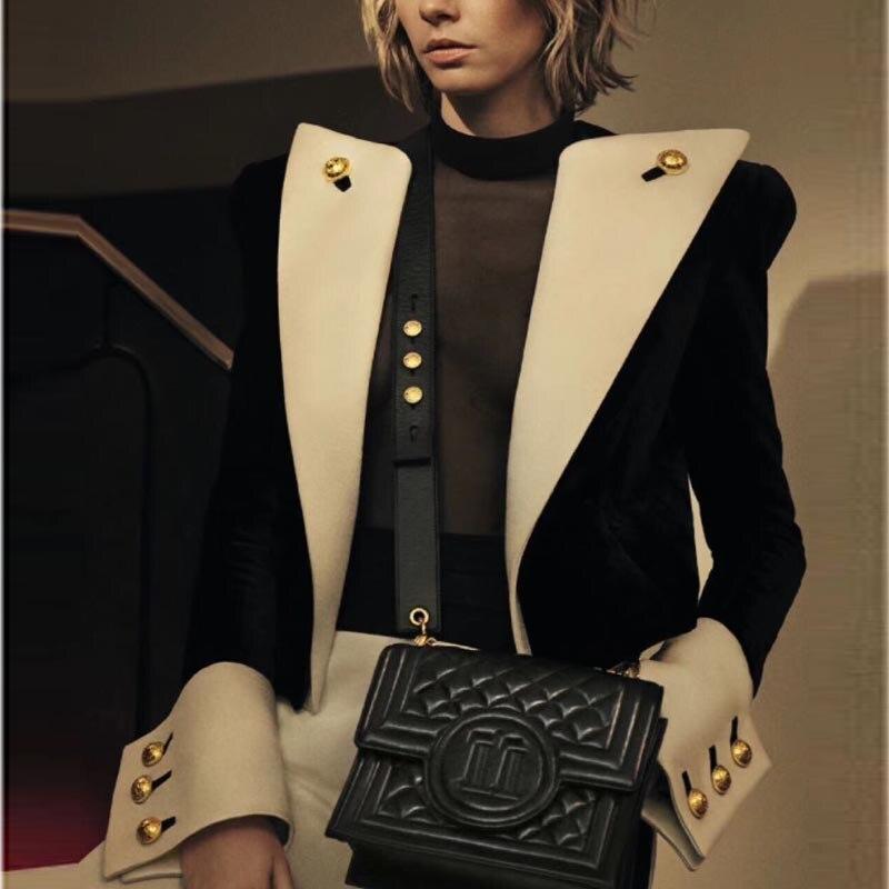 EXCLLENT QUALITY 2020 Newest Stylish Designer Jacket For Ladies Lion Buttons Color Block Patchwork Velvet Short Blazer