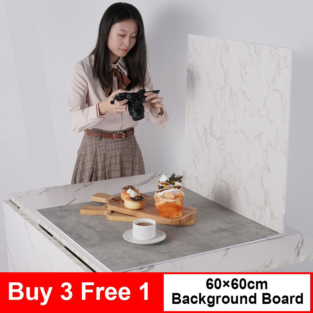 Selens 60x60cm Photography Backdrop Hard Background Board Photo Studio Wooden Cement Marble 3D Texture Photoshoot Background