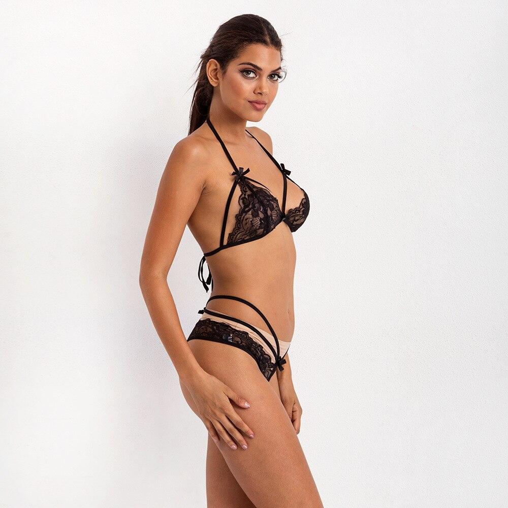 Ensemble Sexy Lingerie dentelle transparente soutien-gorge nœud papillon taille haute G-String