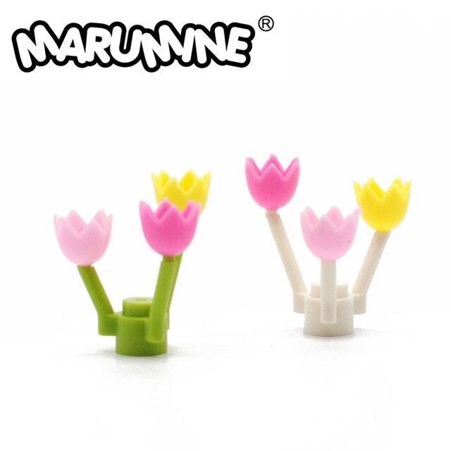 MARUMINE Tulip City Part 50PCS Spring Blossom Stalk Grass Flower Classic Bricks Construction Educational Toys