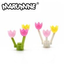 MARUMINE lale şehir parça 50 adet bahar çiçeği sapı çim çiçek klasik tuğla inşaat eğitici oyuncaklar