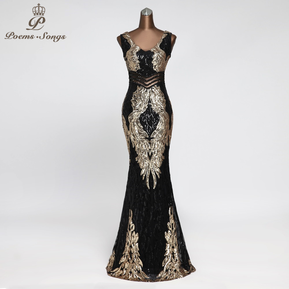 New Beautiful Angel Wings Sequin Evening Dresses Long  Evening Gowns Robe De Soiree Vestidos Elegante  Formal Dress