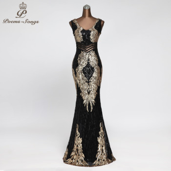 New beautiful Angel wings Sequin Evening dresses long  evening gowns robe de soiree vestidos elegante formal dress - discount item  62% OFF Special Occasion Dresses