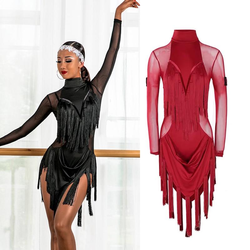 New Latin Dance Dress Women Mesh Tassel Skirts Black Red Fringe Competition Dress Cha cha Rumba Samba Latin Performance Clothes
