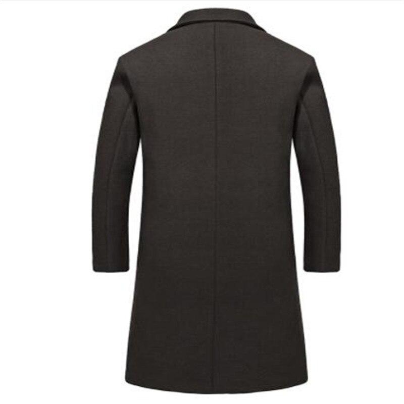 Одежда высшего качества из смески шерсти мужская куртка, пальто брендовая 2017 парка осенне зимние пальто мужской теплая длинная верхняя оде... - 5