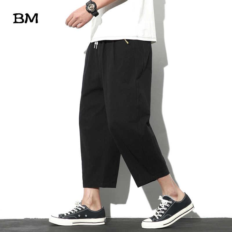 Pantalones Tobilleros De Estilo Chino Para Hombre Pantalon Holgado Liso De Talla Grande De Lino 5xl Para Verano 2020 Pantalones Informales Aliexpress