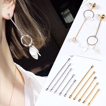 50pc/pack Double Cylinder Connecting Rod Metal Earrings Ear Clip Ear Hook DIY Handmade Ear Jewelry Materials Accessories 12pcs diy accessories color protection plating ear hook plating simple thread earrings spring ear hooks for women
