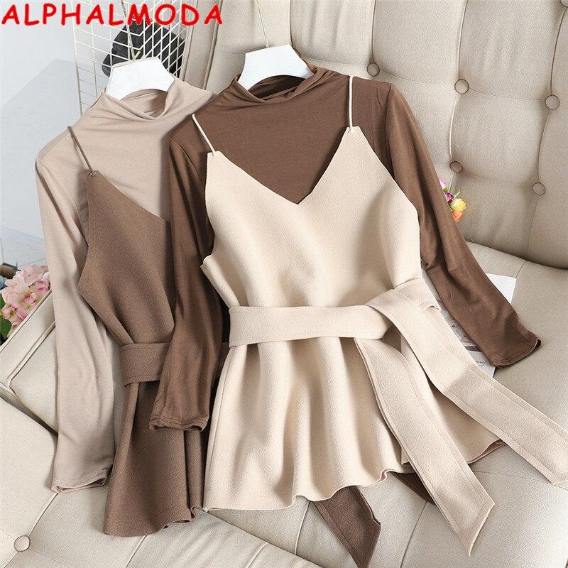 ALPHALMODA New Semi-high Collar Slim T-shirt + Sling Vest Women Elegant 2pcs Tops Set Autumn 2pcs Casual Sashes Jacket Set
