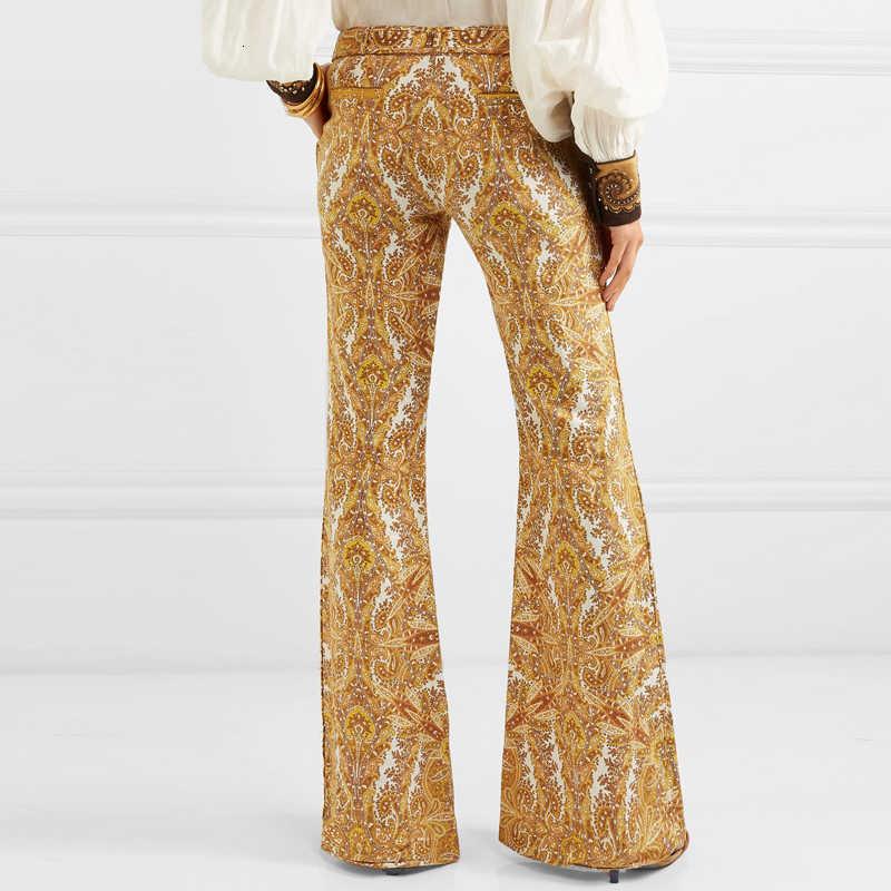 TWOTWINSTYLE Vintage çiçekli baskı Flare pantolon ile kemer kadın % 2019 keten pantolon uzun çan dipleri kadın moda yeni varış