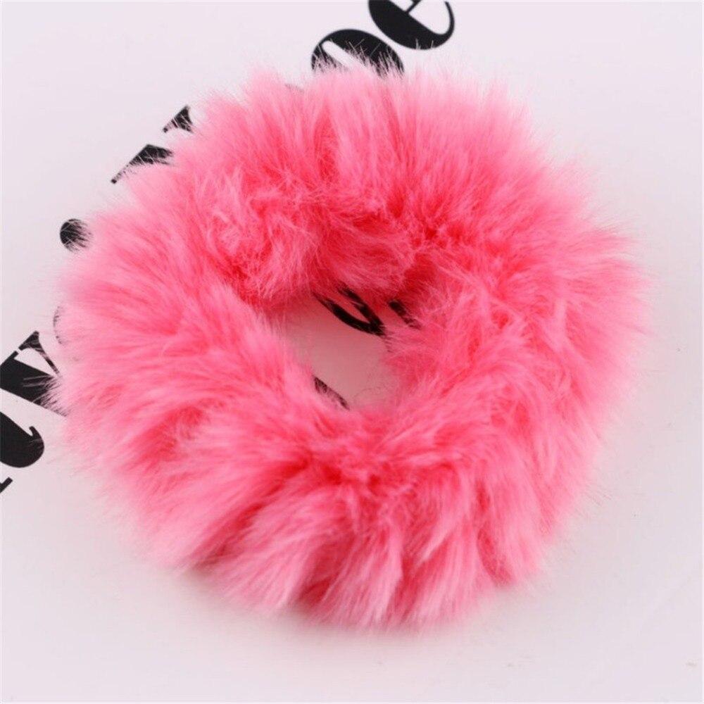 1 мягкий пушистый искусственный мех, пушистый благородный, новинка, шикарные резинки для волос, эластичное кольцо для волос, аксессуары, эластичные розовые резинки для волос