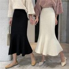 Осенняя длинная трикотажная юбка с высокой талией, зима, Женская Вязаная Зимняя юбка с оборками, ретро посылка