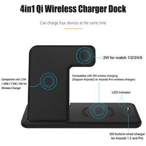 Image 3 - Estación de carga inalámbrica Qi 4 en 1, Base plegable de 15W, carga rápida inalámbrica para Samsung S20, S10, Huawei, Apple iWatch 5, 4, 3, Airpods 2