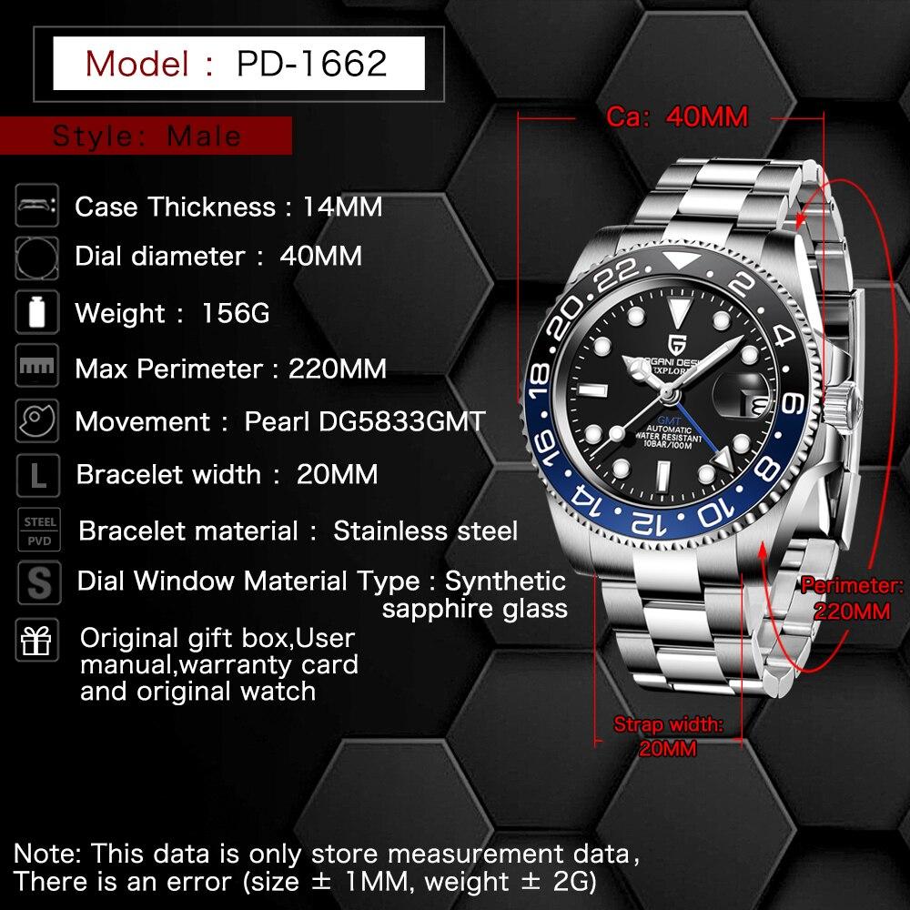 PAGANI DESIGN 2020 Luxury Men Mechanical Wristwatch Stainless Steel GMT Watch Top Brand Sapphire Glass Men Watches reloj hombre 2