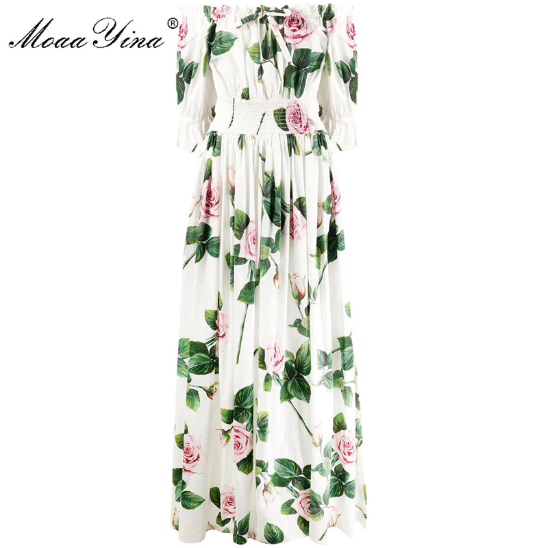 MoaaYina Fashion Designer Dress Summer Women's Dress Elastic Waist Rose Floral-Print Vacation Maxi Cotton Dresses