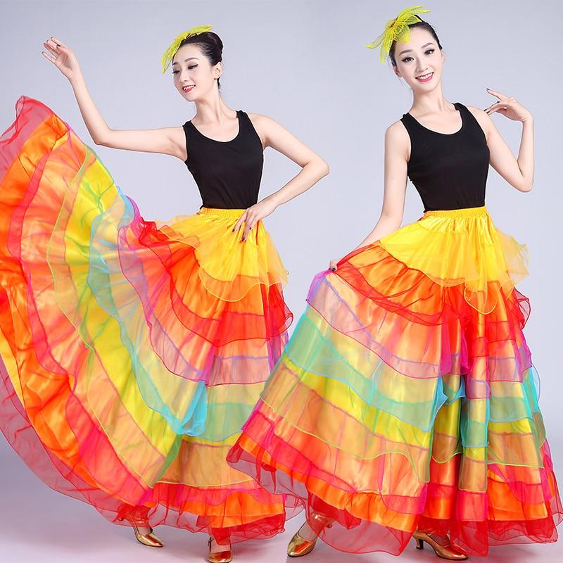 New Adult Female Chorus Opening Dance Flamenco Swing Skirt Spanish Bullfight Dance Costume Ballroom Belly Dancing Skirt DL6126