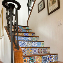цены 6pcs Self-Adhesive Stairs Sticker Morocco Style PVC Stair Wallpaper Decal 18x100cm Stairs Sticker Home Decoration