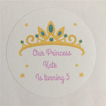 100 Pieces Custom Princess Crown Birthday Sticker Personalized Gift Adheive Seals Decoration Round Labels