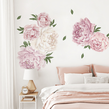Poeny-Pink Flowers And Leaves Wall Sticker Living Room Bedroom Decoration Corridor Large Stickers Self-Adhesive Wallpaper
