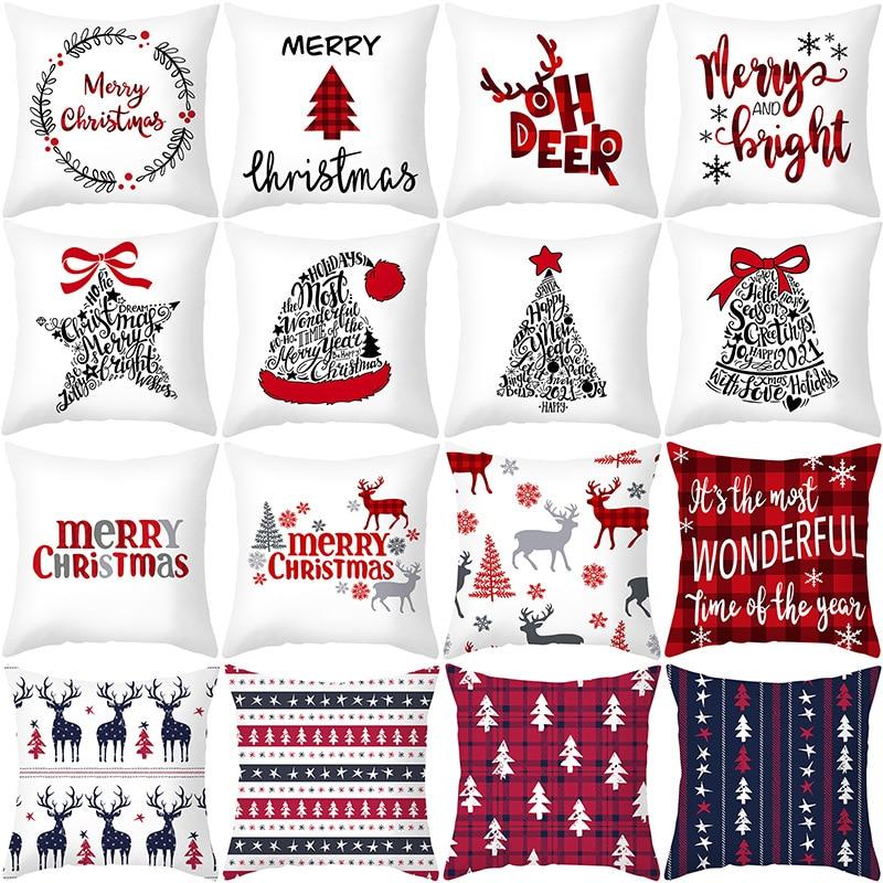 Christmas Xmas White PillowCase Tree Decoration Santa Claus Cushion Cover Christmas Decorations for Home Decor Noel Natal 2021
