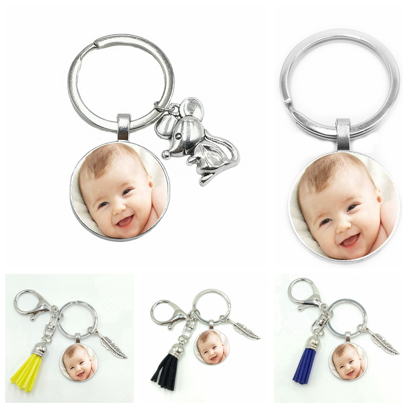 2020 New Year Of The Mouse Custom Baby Parents Mother Infant Grandparents Photo Tassel Keychain Logo Custom Jewelry Gift