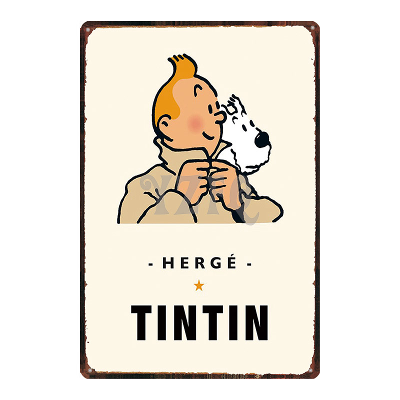 Tintin Cartoon Metal Tin Sign Shabby Chic Wall Kids Room Coffee Shop Home Art Craft Tiki Bar Decor 30X20CM DU2993(China)