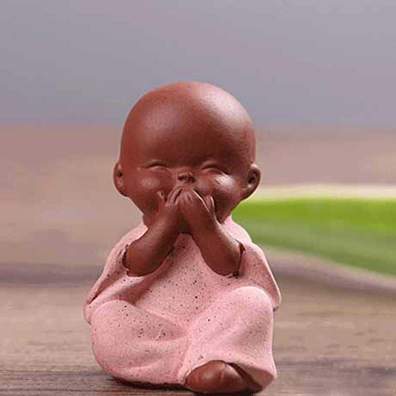 Adornos de cerámica pequeño monje estatua de Buda figura de monje Tathagata India Yoga Mandala té mascota púrpura cerámica artesanías decorativas