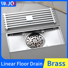 цена на Floor Drain Cover Brass Linear Floor Drains Tile Insert Channel Bathroom Shower Large Drain Cover Anti-odor Floor Waste Grates