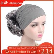 Nieuwe Vrouw Grote Elastische Tulband Haar Accessoires Elastische Doek Haarbanden Hoed Chemo Beanie Dames Moslim Sjaal Cap Voor Haar verlies