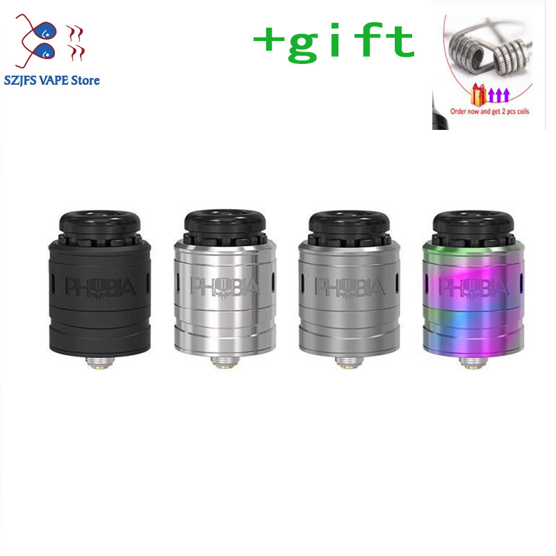 Phobia V2 RDA Atomizer 1ML 24mm Diameter Angled Down Airflow Holes To Build For Single Coil Or Double Coil Vs Cosmonaut V2 RDA