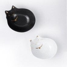 Pets Drawing Gold Ceramic Cats Bowls Cat Food Bowl Cats Ear Bowls Flat Face Cat Feeding Utensils Feeding Bowl Pets Supplies teeboo usa kidoo pets cat minx gray