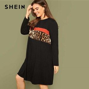 Шеин размера плюс черная леопардовая ПАНЕЛЬ платье для женщин осень с длинным рукавом Colorblock плюс повседневные свободные прямые миди платья