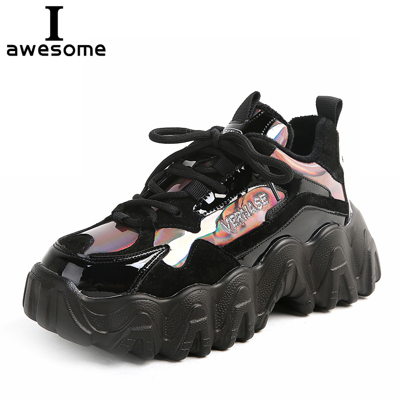 2019 New Black Sneakers Shining Women Platform White Sneakers Thick Chunky Shoes Casual Boots Breathable Soft Woman Chunky Shoes
