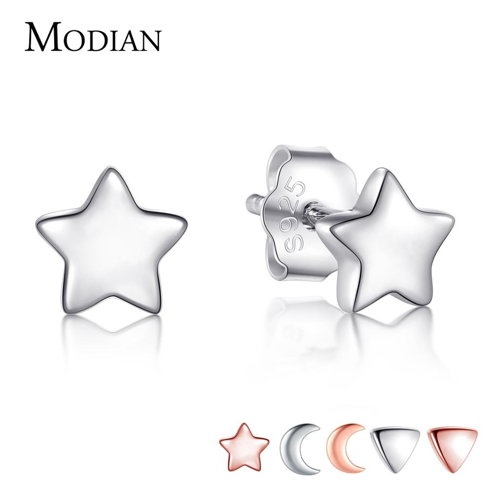 Modian New 6 Style Real 925 Sterling Silver Stars Moon Exquisite Fashion Simple Stud Earrings For Women Triangle Jewelry Brincos