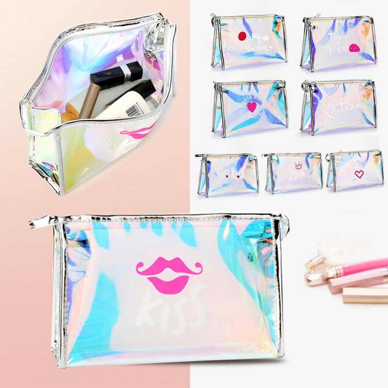 Laamei laserowa kosmetyczka kobiety torba na kosmetyki TPU przezroczysty kosmetyczny organizator etui kobiet torebka typu jelly Bag Lady torba na przybory do makijażu