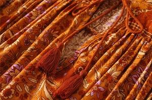 Image 5 - בציר שיק נשים כתום פרחוני הדפסת שרוול פנס ציצית חוף בוהמי מיני שמלות גבירותיי V צוואר זהורית Boho שמלה