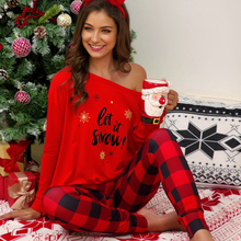Christmas Costume Letters Printed Long Sleeve Shirt Plaid Long Pants Casual Pajamas