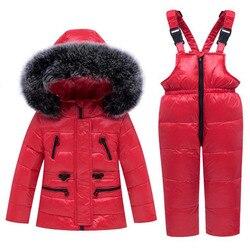 Mono para la nieve de algodón infantil traje de nieve 4 colores Abrigo con capucha abajo mono de invierno para niños ropa de invierno cálida rusa