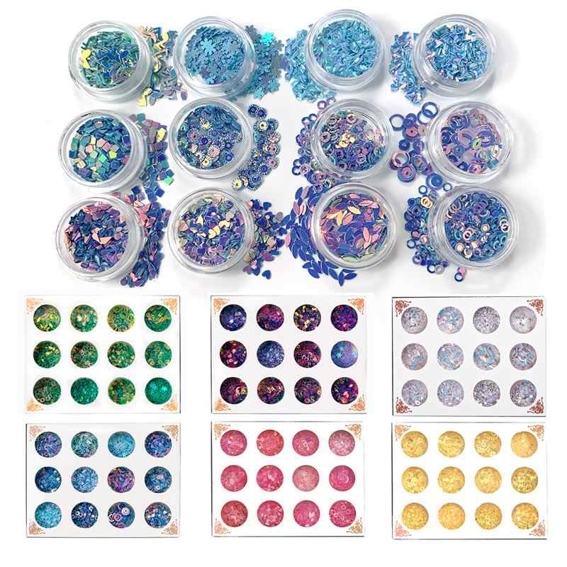 12 Bottles Flat Round PVC Loose Sequins for Crafts Paillettes Sewing Decoration Epoxy Resin Jewelry Fillings for DIY Accessories