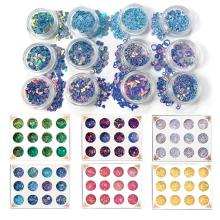12 Bottles Resin Jewelry Fillings Flat Round PVC Loose Sequins for Crafts Paillettes Sewing Decoration Epoxy DIY Accessories