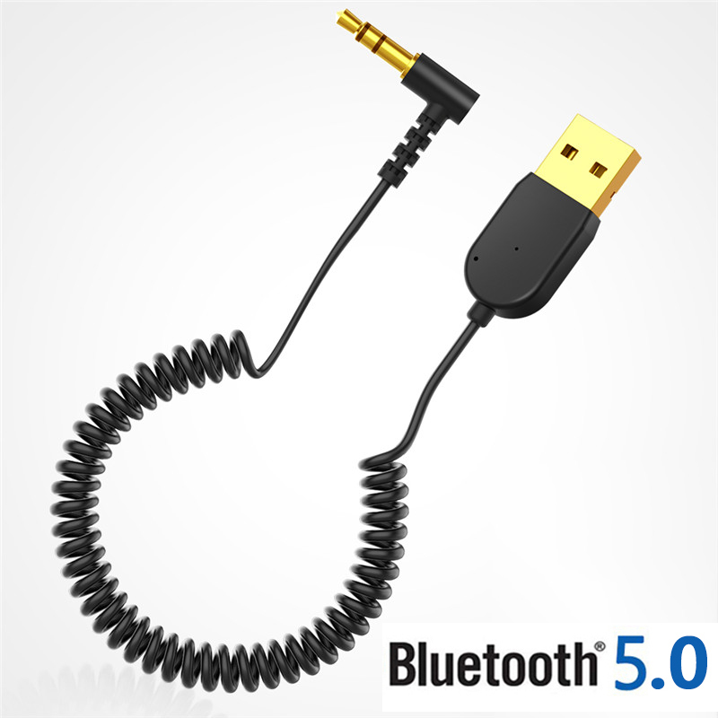 USB Bluetooth Adapter 3.5mm Jack Aux Bluetooth V5.0 Receiver Audio Transmitter Dongle Cable  For Car Speaker Headphones Louder