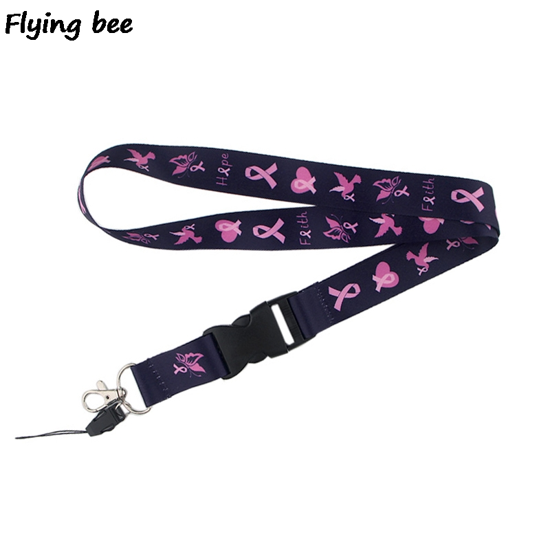 20pcs/lot Flyingbee Breast Cancer Prevention Phone Lanyard Women Fashion Keychain Strap Neck Lanyards For ID Card Keys X0521