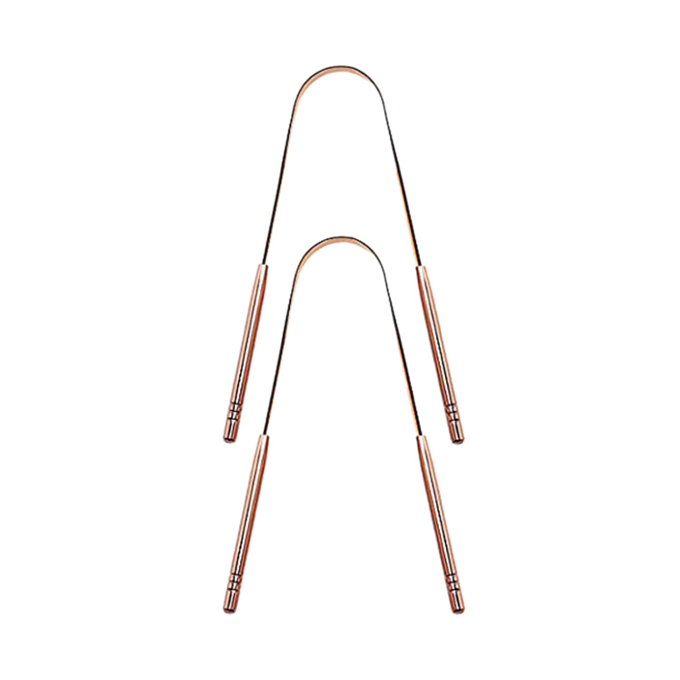 Scraper Cleaner, 2-Pack Stainless Steel Tongue Cleaner Rose Gold Tongue Scraper