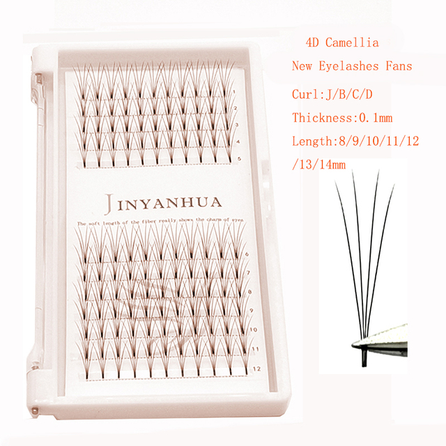 Russian Short Stem Pre Made Volume Fans 3d Eyelashes Mink Individual Cluster J/B/C/D Curl Lash Premade Eyelash Extensions Makeup 4