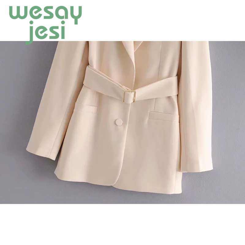 Women Blazer Vintage solid color office lady New Blazer Pockets Jackets Female Retro Suits casual Streetwear women with sashes in Blazers from Women 39 s Clothing
