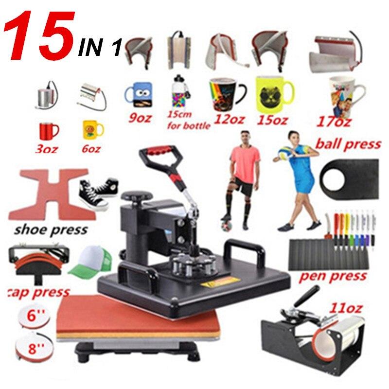 15 em 1 máquina combo da imprensa da pena do calor, impressora da sublimação/máquina de transferência da sapata imprensa térmica para a caneca/tampão/tshirt/sapata/pena/sapata/bola