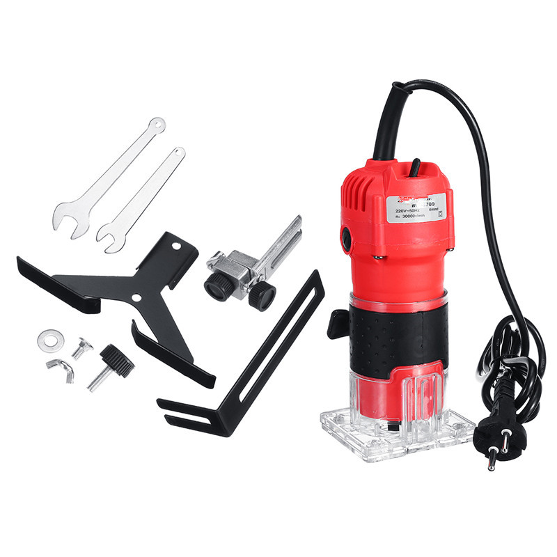 220V 1300W 6.35mm 30000RPM Electric Hand Trimmer Wood Laminator Router Power Tools DIY Woodworking Cutter Carving Trimming Tool