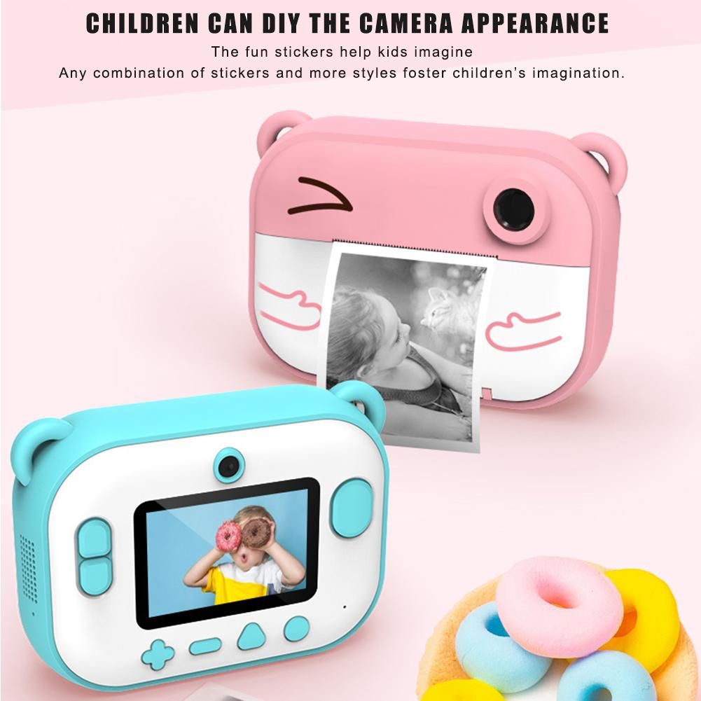 2.4Inch Childrens Mini 1080P HD Digital Camera Set DIY Photo Printing Video Recorder Camcorder Kids Large Head Sticker Kids Gift